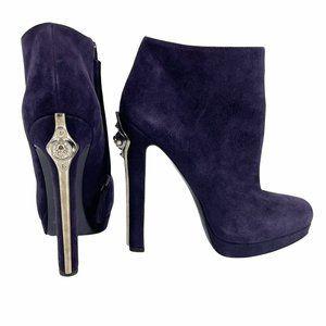 Alexander McQueen Violet suede ankle boots platform heel sword 38